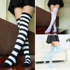 UK Cotton Striped Socks Women Ladies Over Knee High Long Socks One Size