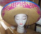 New/lot of 3 Straw Embroidered Large Sombrero Gold w/ pink brim 2 colors