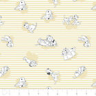 101 DALMATIONS - CAMELOT DESIGNS -  STRIPES & CLOUDS IN LIGHT YELLOW 100% cotton