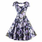 Women Floral Printed Vintage 50'S 60'S Swing Party Housewife Short Sleeve Dress
