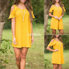 Women Yellow Butterfly Short Sleeve Boat Neck Boho Solid MIni Above Knee Dress