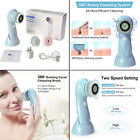 3in1 Electric Facial Cleansing Brush Set Soft Scrubber Face Body Exfoliating New