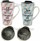 Prosecco Double Walled Ceramic Travel Mug Cup Insulated Slide Closure Lid Hearts