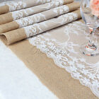 "2/20 x Hessian Vintage Burlap Lace Table Runner 108""(275cm) Wedding Rustic Decor"