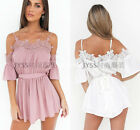 Women Ladies Off Shoulder Spaghetti Strap Solid Lace Chiffon Boho Sashes Dresses