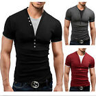 Men's Tee Shirt Slim Fit V Neck Short Sleeve Muscle Casual Tops T Shirts TB