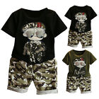 2PCS Kid Baby Boy Camouflage Short Sleeve T-shirt Top Short Pant Outfits Clothes