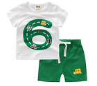 Summer 2pcs Kids baby boys short sleeve top T-shirt+Shorts outfit  1-7Years