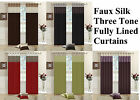 FAUX SILK LINED CURTAINS THREE TONE BEDROOM CURTAIN EYELET / RING TOP + Tiebacks