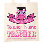 Thank You Personalised You Are The Best Teacher Tote Bag Teaching Child Owl Gift