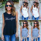 UK New Womens Sleeveless Blouse Tank Tops Vest Top T Shirt Casual Tops Size 6-18
