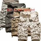Casual Men's Cotton Summer Army Combat Camo Work Cargo Shorts Pants 3/4 Trousers