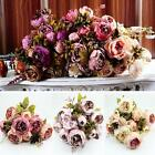 Artificial Bouquet 10 Heads Peony Silk Flowers Leaf Home Wedding Party Decor #4
