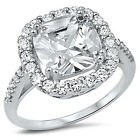 Sterling Silver Women's CZ Cushion Cut Engagement Ring size 5-9