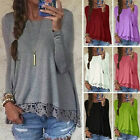 Womens Crew Neck Long Sleeve Lace Crochet Tops Casual Loose Tops Shirt Blouse