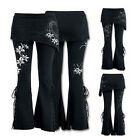 Women Leggings Micro Slant Skirt Gothic Punk Pants Lace Up Bell Bottom Leggings