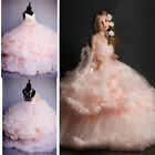 2018 Pink Tulle Princess Bridesmaid Flower Girl Dresses Wedding Party Prom Dress