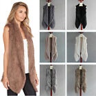 100% Real Rabbit Fur Vest Knitted Thick Fur Long Collar Gilet for women's