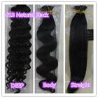 """18""""-32"""" Stick I-Tip Human Hair Extensions Straight Curly Wavy #1B Natural Black"""