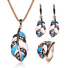 Sale Women Girl Jewelry Sets Bib Leaf Rhinestone Necklace Earrings Ring