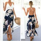 Summer Women V-neck Floral Printed Dress Lace Backless Irregular Party Dresses