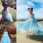 Blue Long Sleeve Lace Applique Flower Girl Dress Party Pageant Princess Gown New