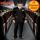K370 Mens Airline Pilot Flight Captain Costume Uniform Officer Military + Hat