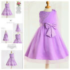 Kids Purples Christening Communion Flowers Girls Dresses SIZE 2-3-4T-5-6-7-8-10T