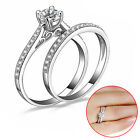 2PCS Lover Couple Jewelry Silver Crystal Engagement Wedding Charm Lovers Rings