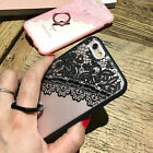 Luxury Relief Lace With Finger Ring Stand Case Cover For iPhone 5s SE 6/6s 6plus