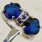 Size 6 7 8 9 Hot Sapphire Blue Topaz Double Princess Gems Gold Filled Ring K1995