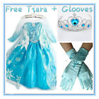 Crown + Glove + FROZEN Elsa Princess Party Dresses Costume Set SIZE 3 4 5 6 7 8T
