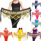 Velvet Belly Dance Hip Scarf Gold Coin  Bead Belt Wrap Skirt Dancing Costume UK