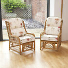 2 Cadiz Cane and Diamond Lattice Conservatory Armchairs with Luxury Cushions