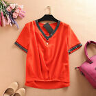 Women v neck pearl sequins fold tops chiffon shirts short sleeves slip over gift