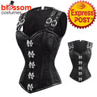 CC88 Black Steampunk Boned Brocade Corset Brocade Gothic Top Halloween Costume