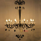 Modern Black Crystal Chandeliers LED Pendant Lamp Living room Stairs Lighting