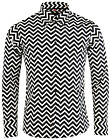 NEW MADCAP RETRO MOD 60s ZIG ZAG TRIP BUTTON DOWN SHIRT: BLACK/WHITE MC301