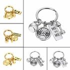 Fashion Gold/Silver Sport Weight Lifting Barbell Keychain Women Men Keyring New