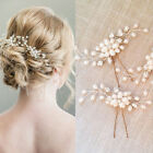 Elegant Wedding Bridal Pearl Flower Crystal Hair Pins Bridesmaid Clips Side Comb
