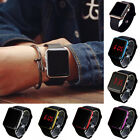 New Digital LED Rectangular Screen Silicon Band Wrist Watch Men Women Kids UK