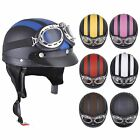 Motorcycle Scooter Open Face Harley Half Helmet Leather scarf w/ Visor Goggles