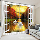 3D River Swans Blockout Photo Curtain Printing Curtains Drapes Fabric Window AU