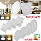 Ultraslim Round Square Led Recessed Ceiling Panel Down Light Warm Day White UK