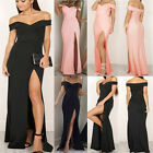 UK Sexy Womens Off Shoulder Long Split Dress Summer Maxi Dresses Party Dresses