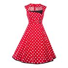 Womens Polka Dot Dress Vintage Style 50s 60s Swing Pinup Sleeveless