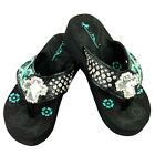 Montana West Flip Flop Sandals Hand Beaded Embroidered Black Turq Bling Cross