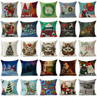 "18"" Xmas Christmas Cotton Linen Throw Pillow Case Sofa Cushion Cover Home Decor"