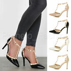 WOMENS LADIES SLIM HIGH HEEL SMART EVENING STUDDED STRAPPY T-BAR CAGED SHOES