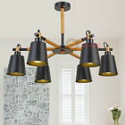 White Black Metal Shades Chandelier Light Wood Modern Kitchen LED Pendant Lamp